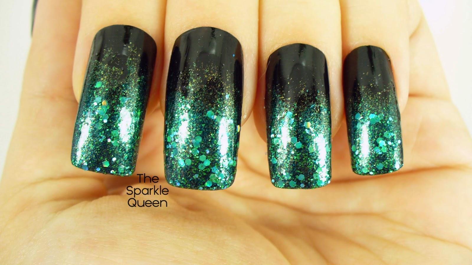 Dark Mysterious Glitter Gradient March Hepicksmypolish Nail Art